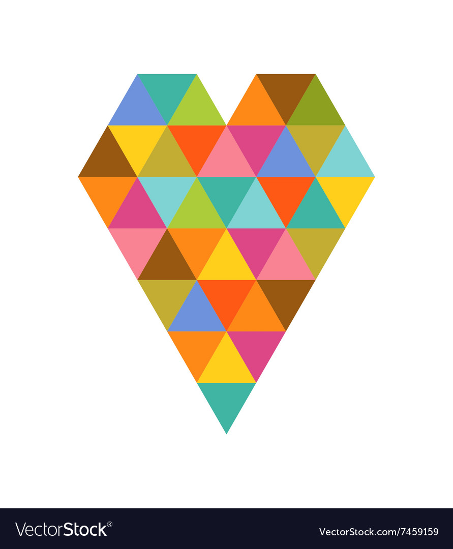 Geometric colorful heart for valentines day vector