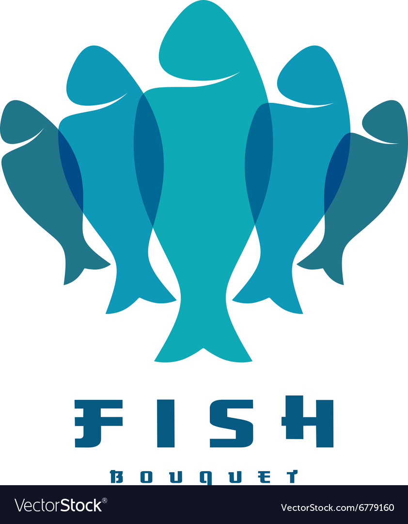 Fish logo several vertical shapes with overlay vector