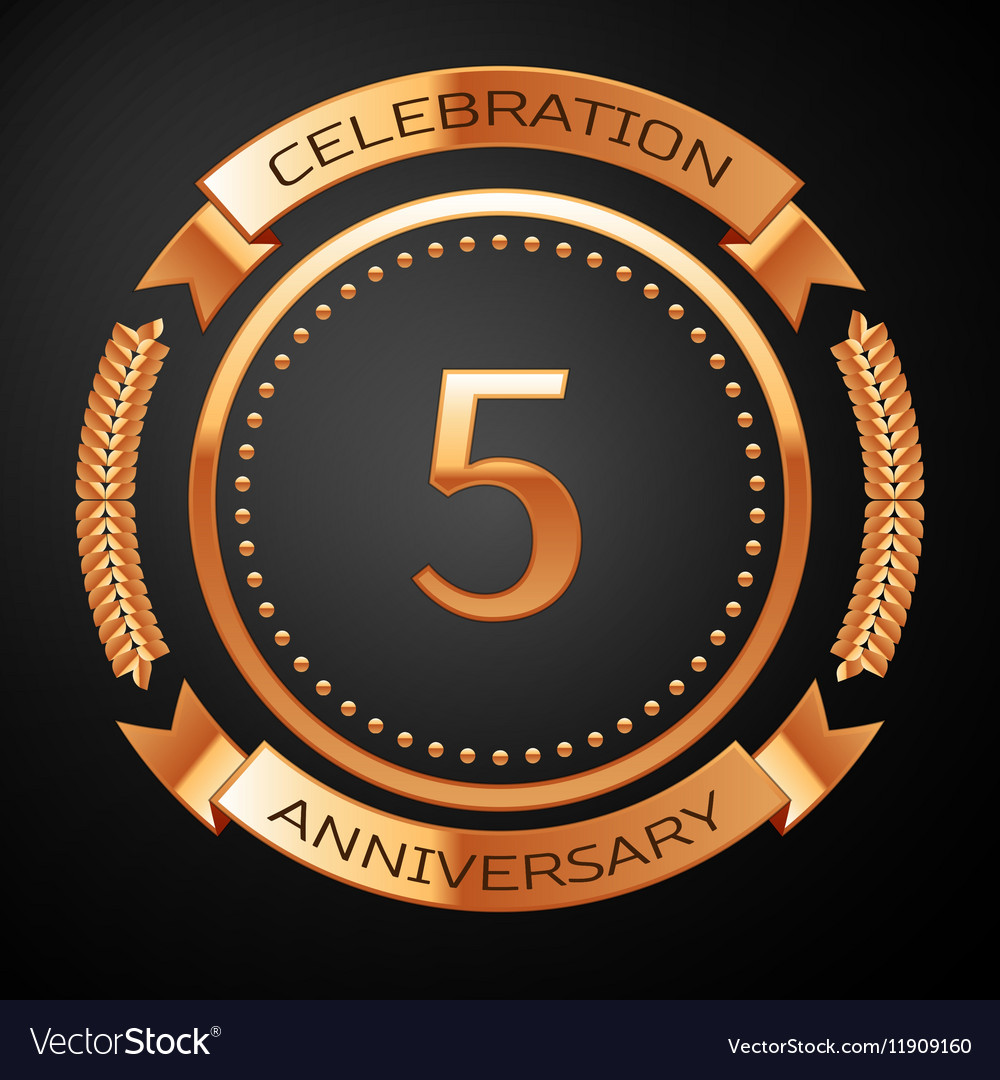 Five years anniversary celebration with golden vector