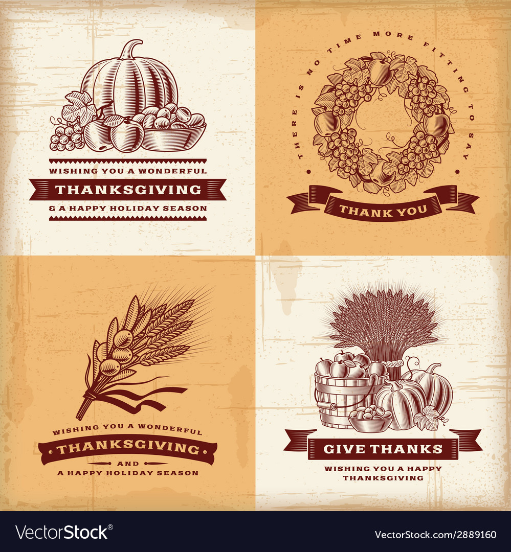 Vintage thanksgiving labels set vector