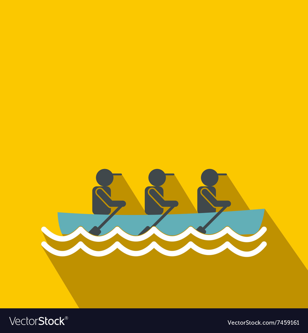 Rowing race flat icon vector