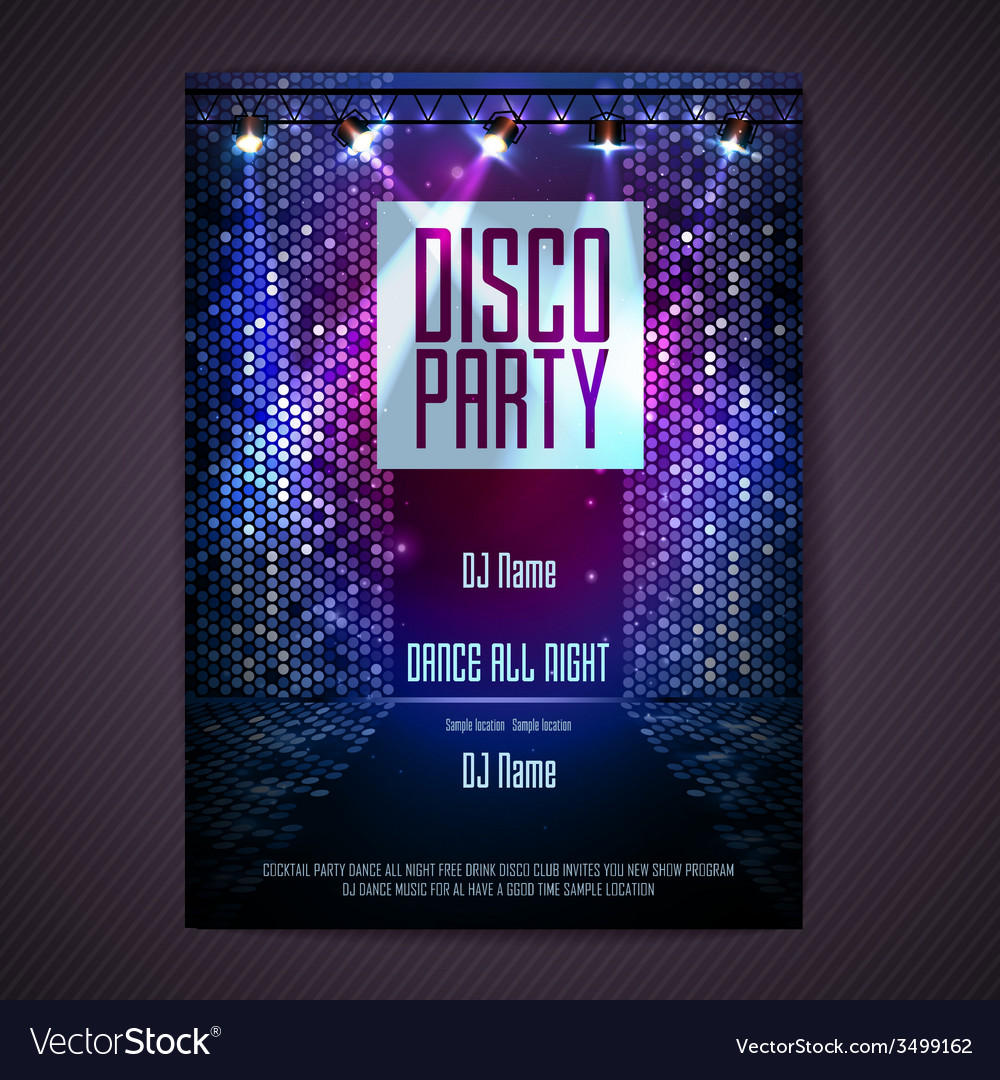 Disco background disco poster vector