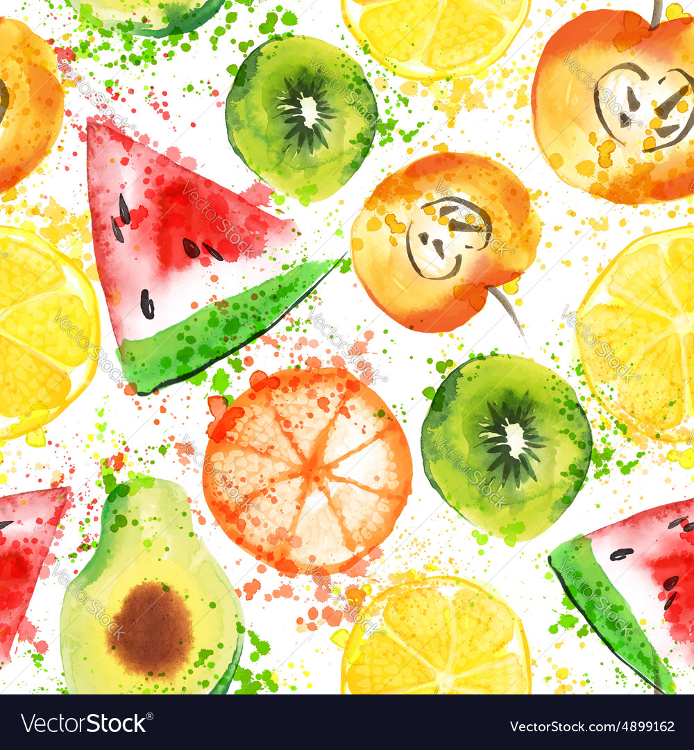 Fruits watercolor seamless pattern vector
