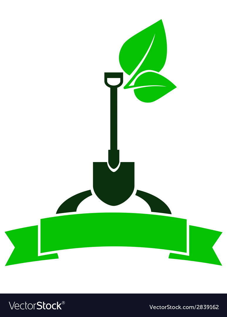 Garden sign with shovel vector