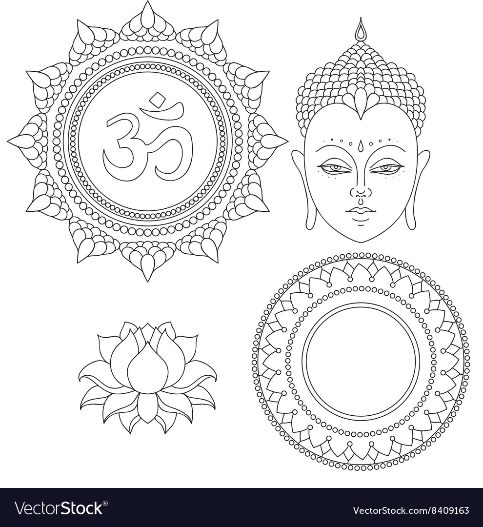 Head of buddha om sign hand drawn lotus flower vector