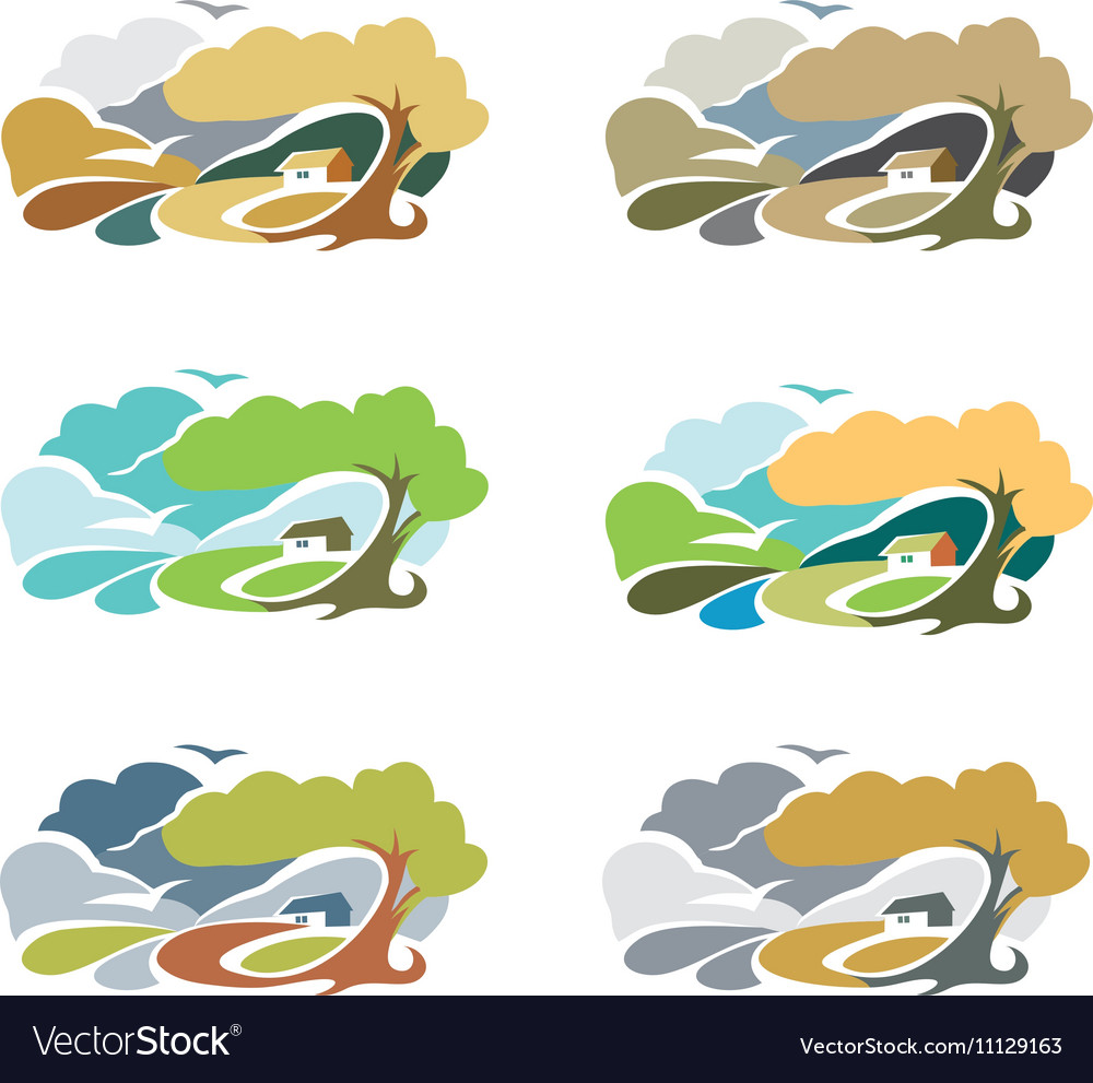 Isolated abstract colorful rural landscape with vector