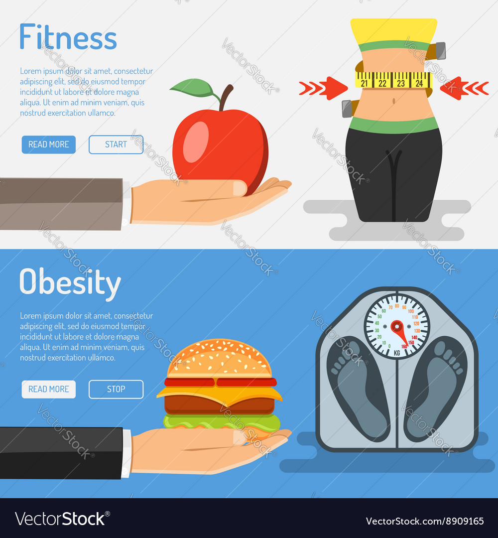 Healthy lifestyle and obesity concept vector