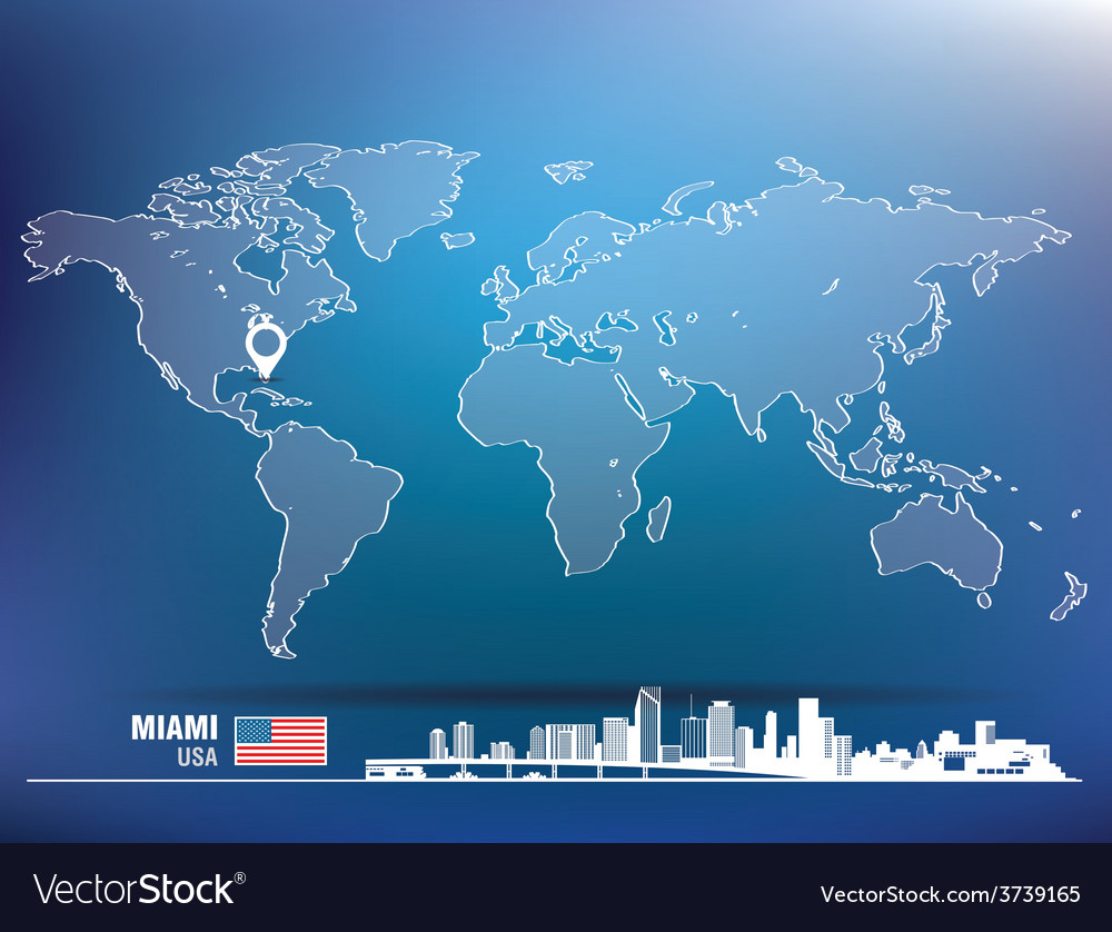 Map pin with miami skyline vector