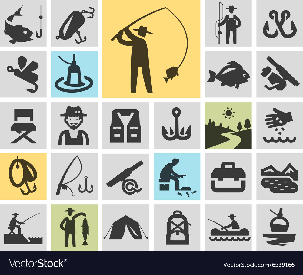 Fishing set black icons signs and symbols vector