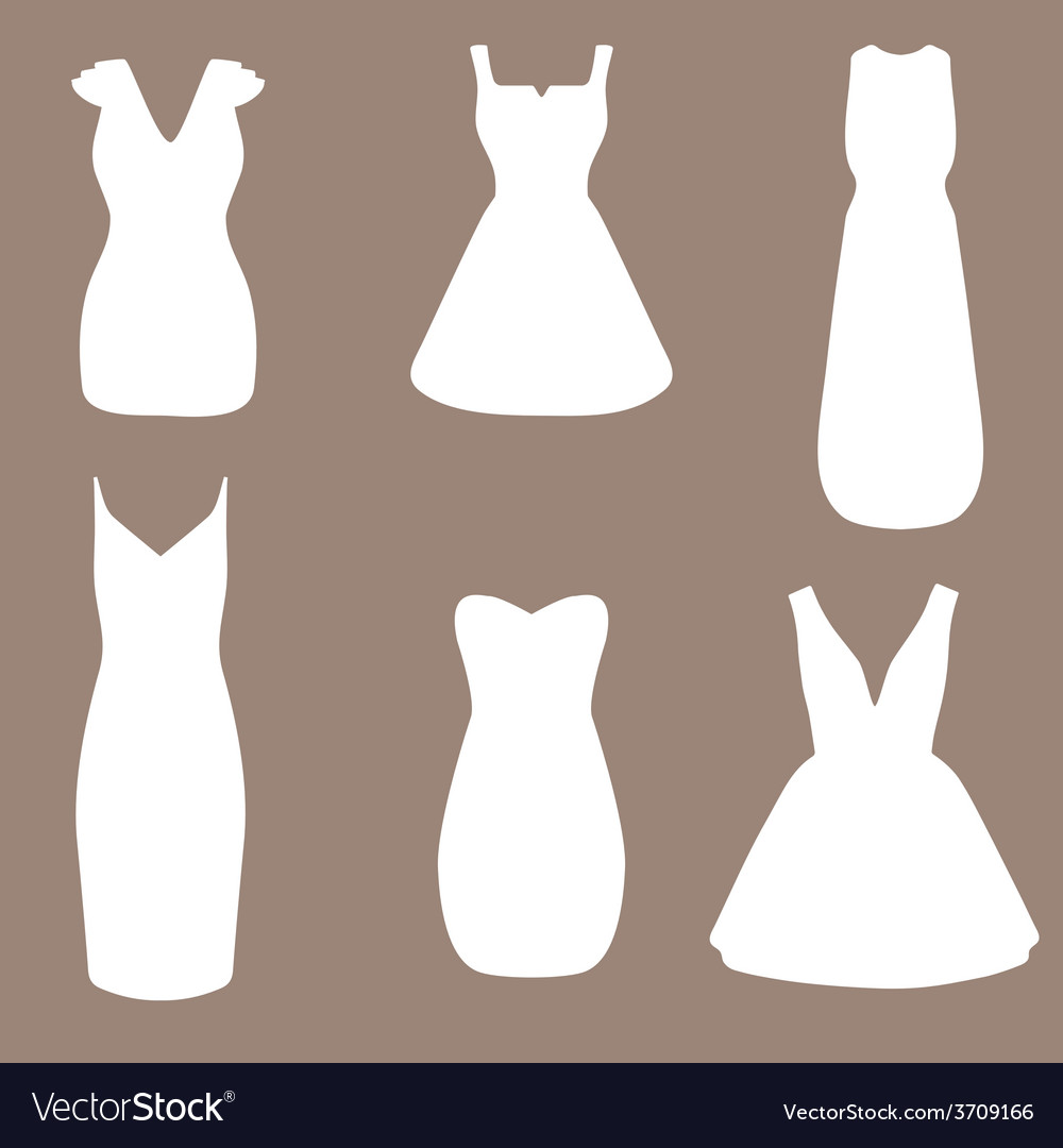 Set of woman little black dresses vector