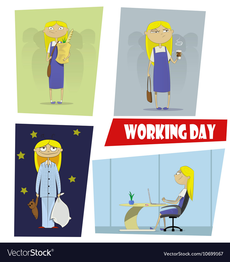 Four fun cartoon of the working day vector