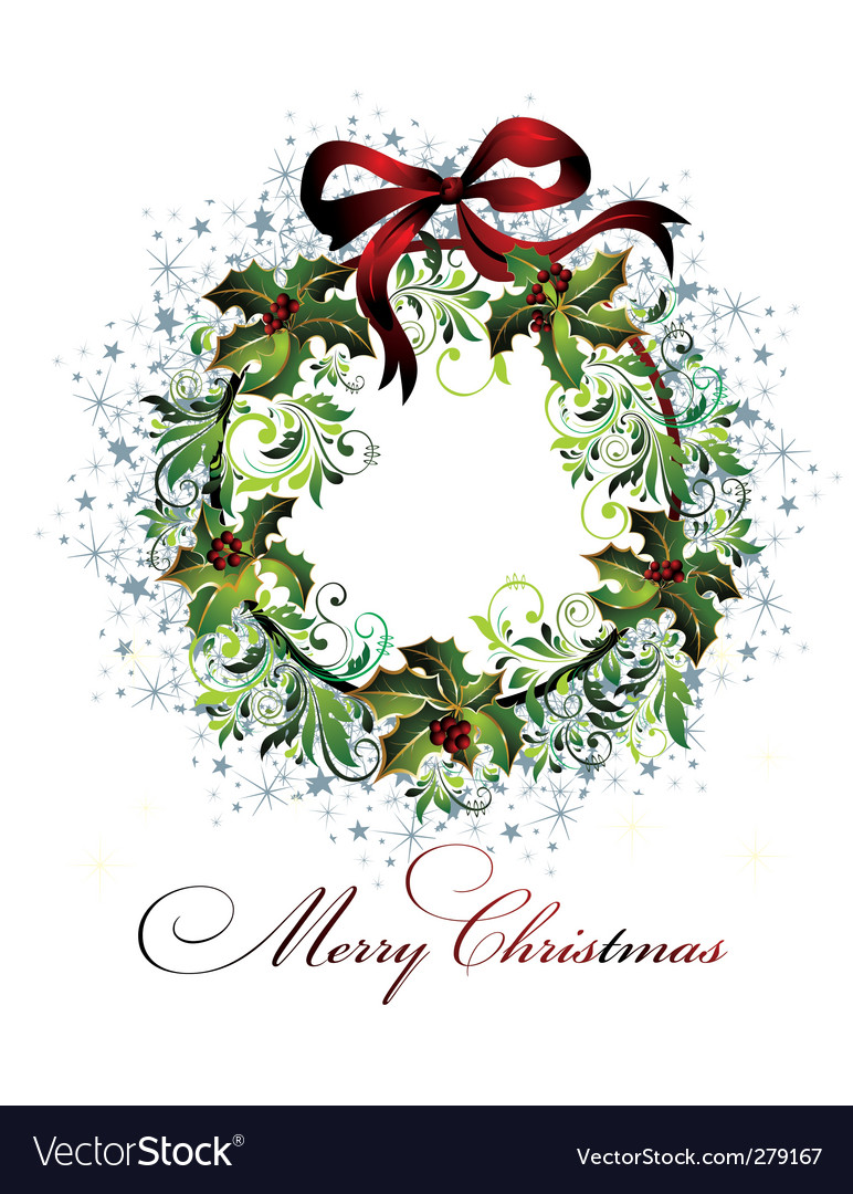 Merry christmas wreath vector