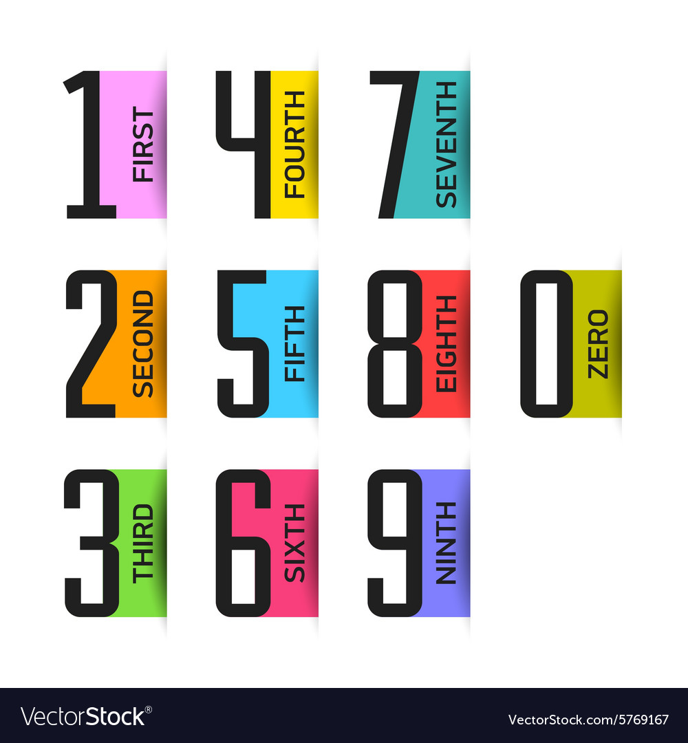 Numbers set design element vector