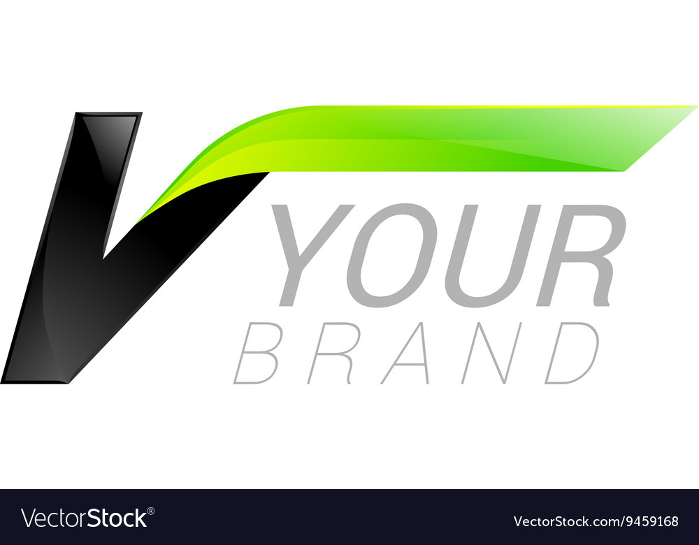 V letter black and green logo design fast speed vector