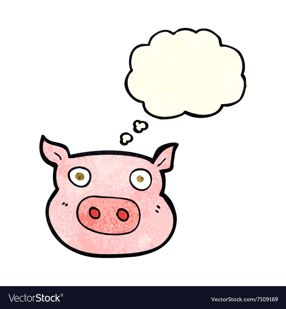 Cartoon pig face with thought bubble vector
