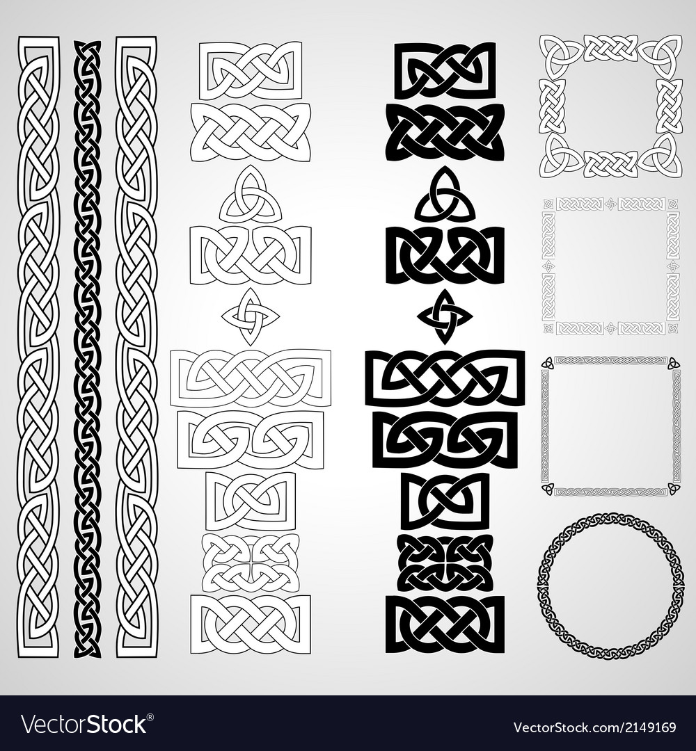 Celtic knots patterns frameworks vector