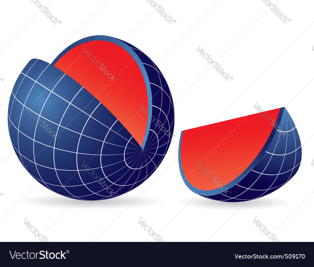 Earth globe slice vector