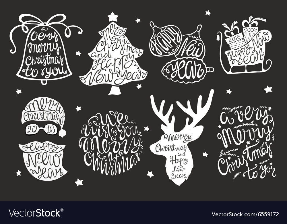 Set of handdrawn lettering for greeting cards vector
