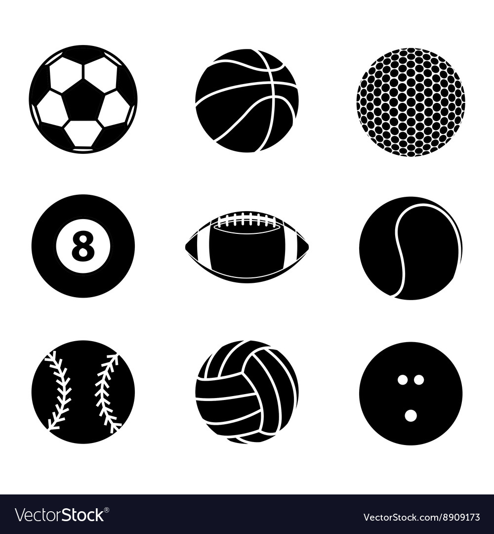 Collection of sport ball icon black and white vector