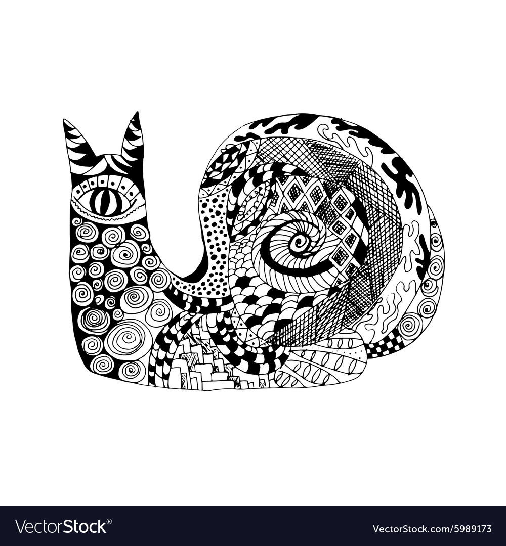 Zentangle stylized snail sketch for tattoo or t vector