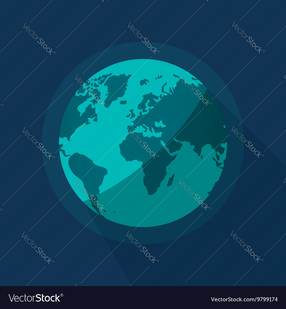 Earth globe flat cartoon planet from space vector