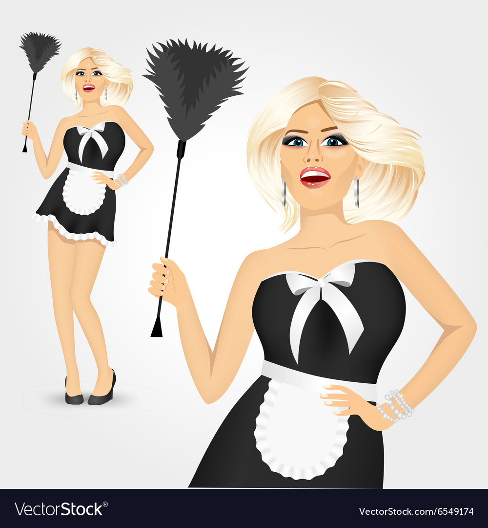 Young maid in classic dress vector