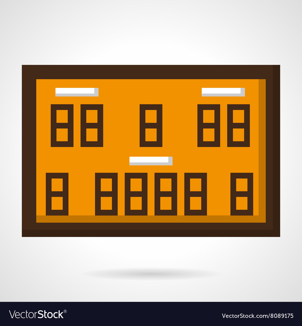 Basketball scoreboard flat color icon vector