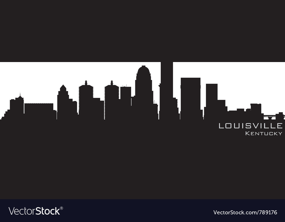 Louisville kentucky skyline detailed silhouette vector