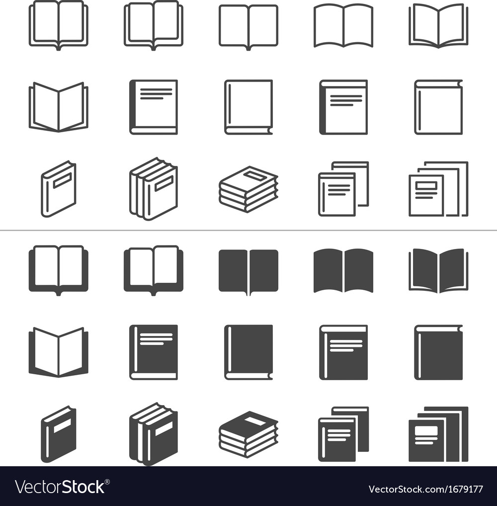 Book thin icons vector