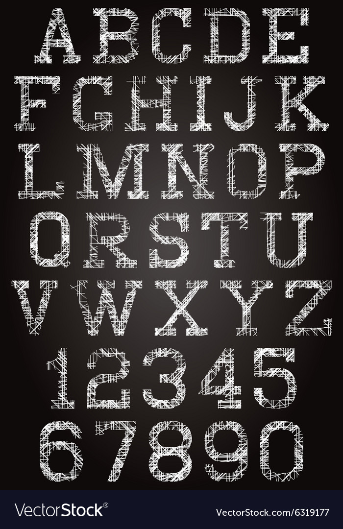 Retro font and set of digits vector