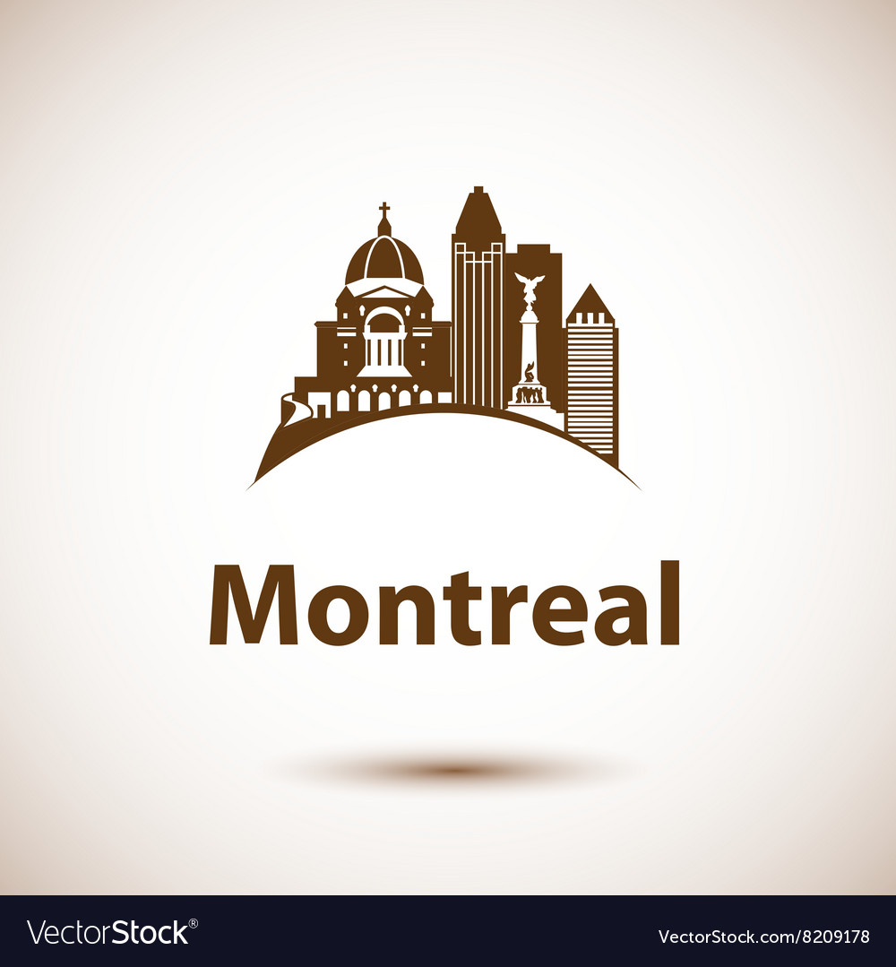 City skyline with landmarks montreal quebec vector