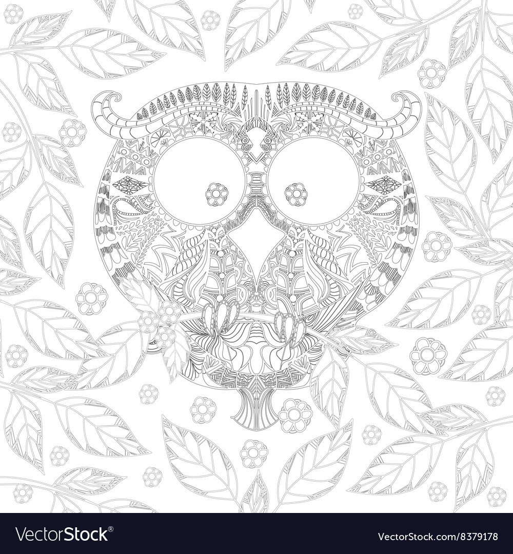 Coloring book page with zendoodle owl in leaves vector