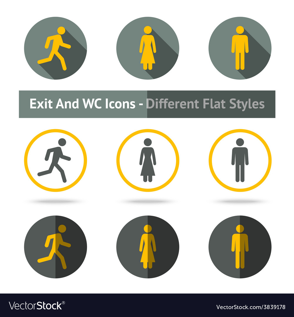 Exit and wc icons set in different flat styles vector
