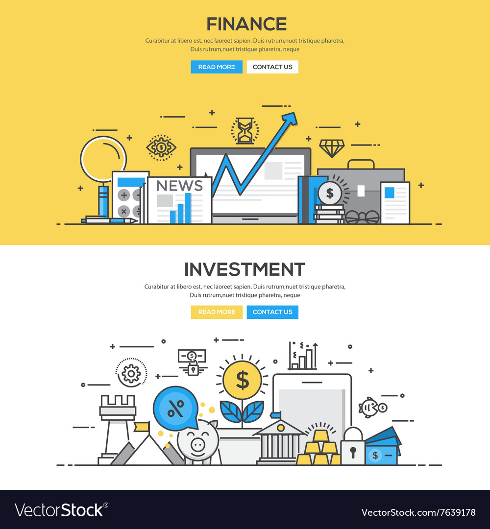 Flat design line concept investment and finance vector