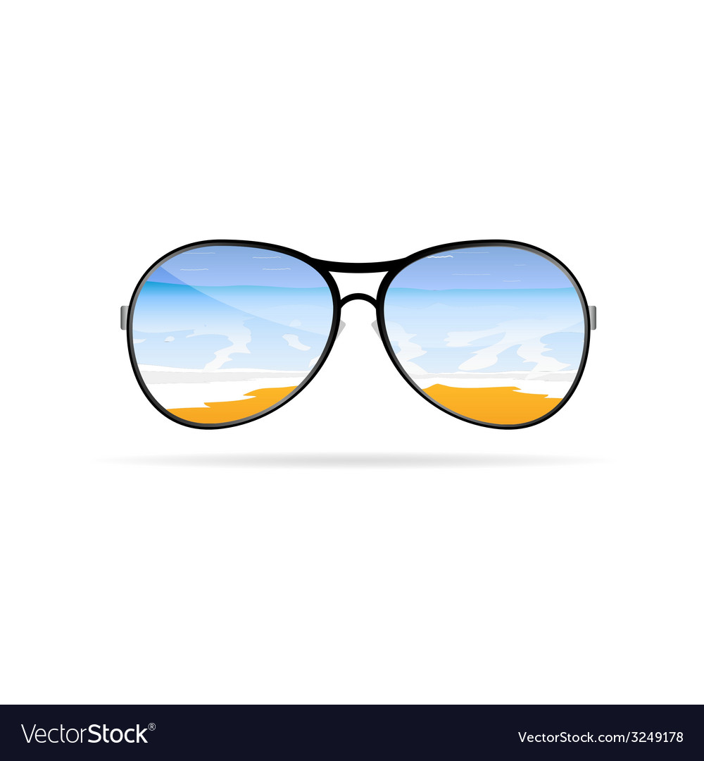 Sunglass with beach art on a color vector