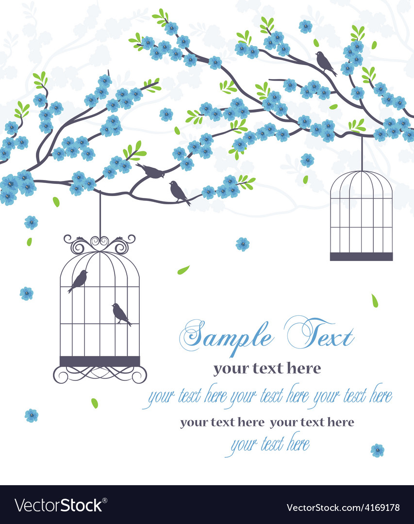 Wedding invitation card with bird vector