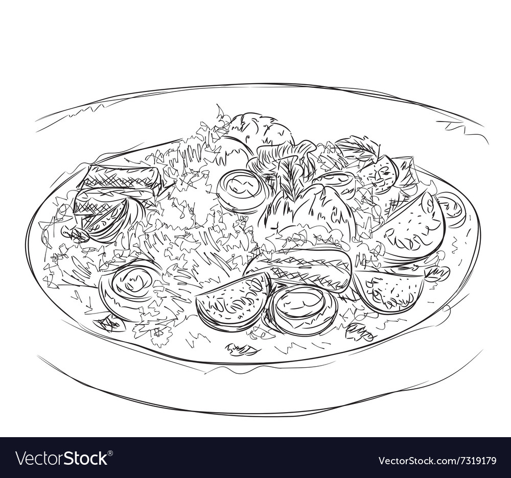 Hand drawn salad sketch food vector