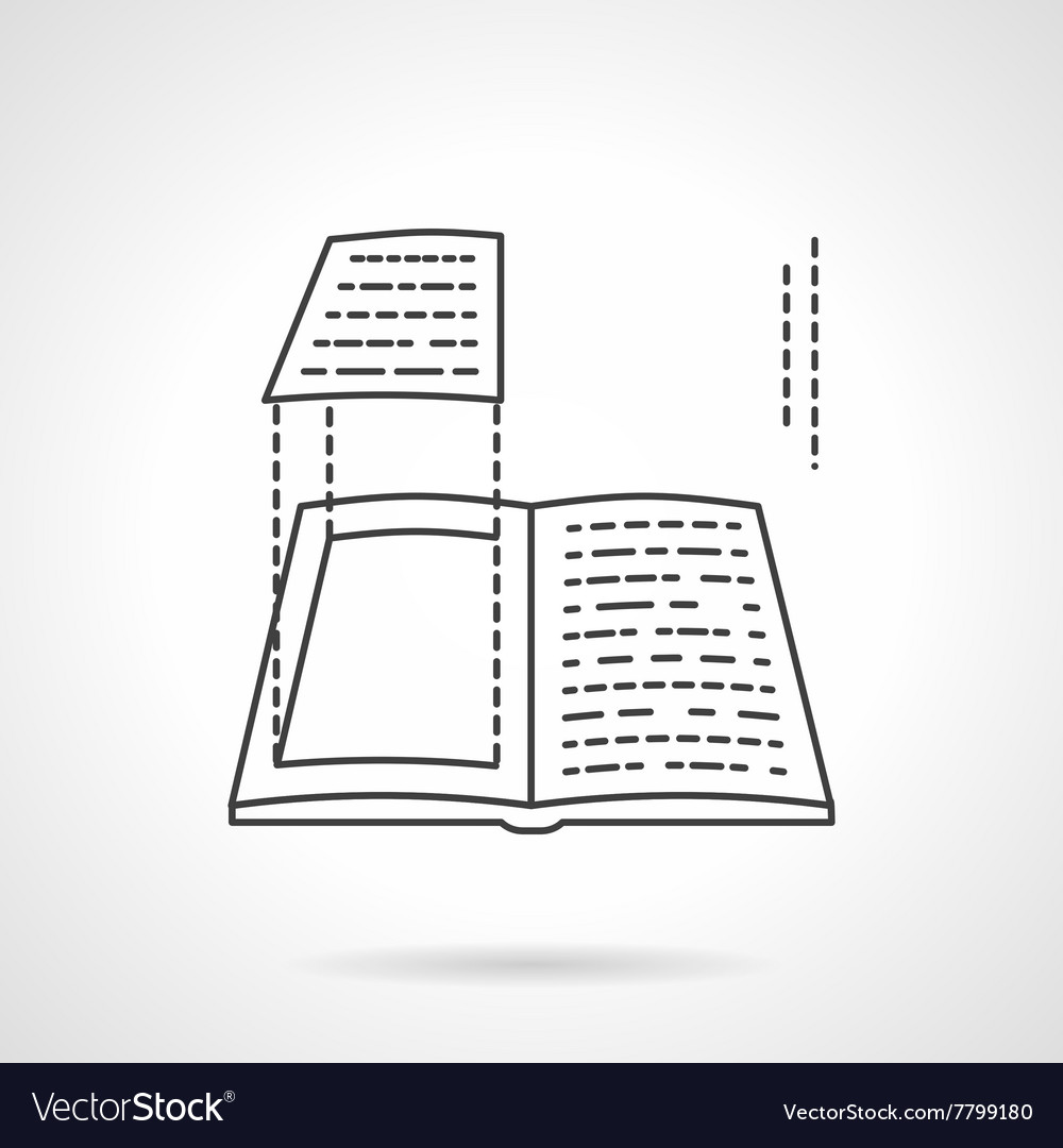 Book layout flat line design icon vector