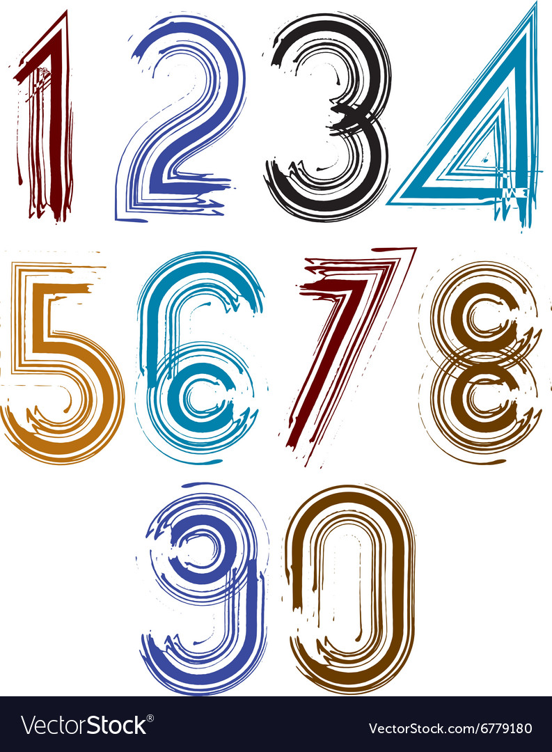 Calligraphic brush numbers with stripes vector