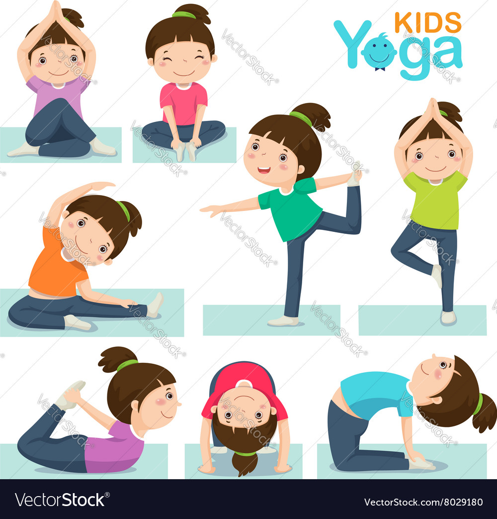 Cute girl doing yoga on a white background vector