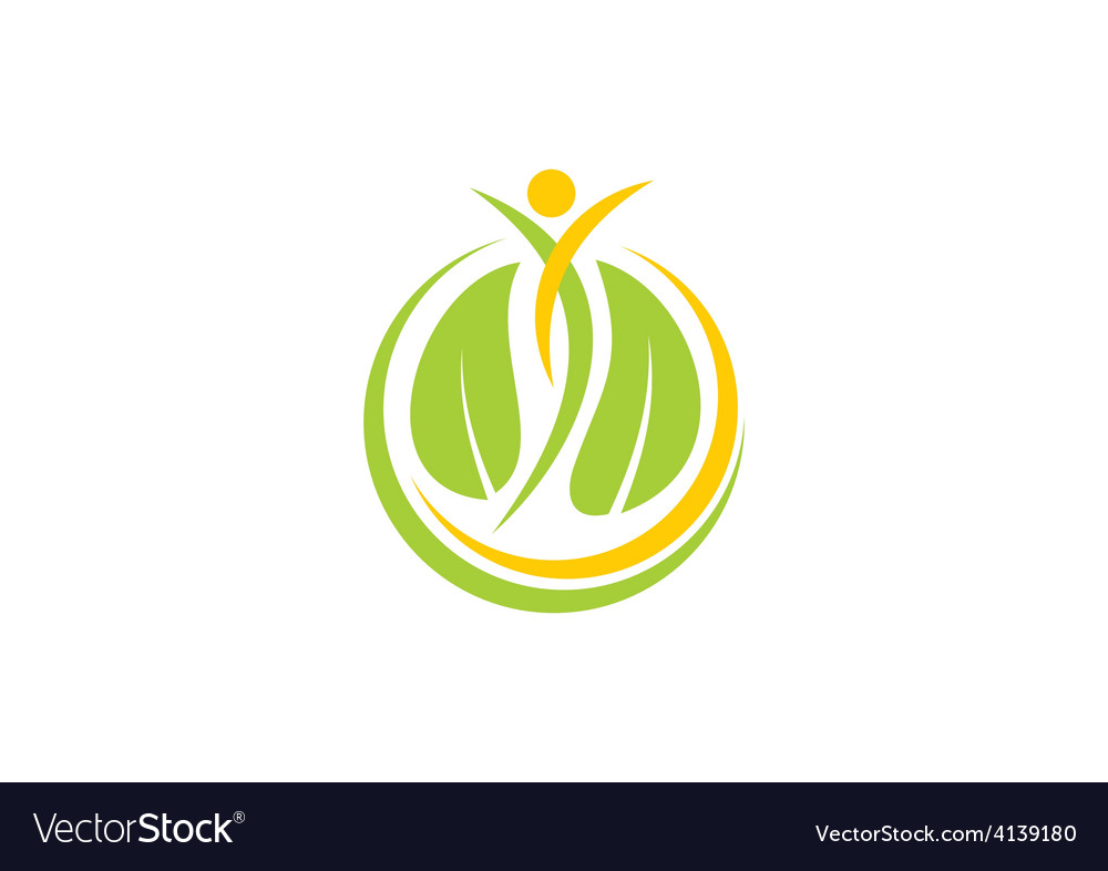 Spa leaf people nature logo vector