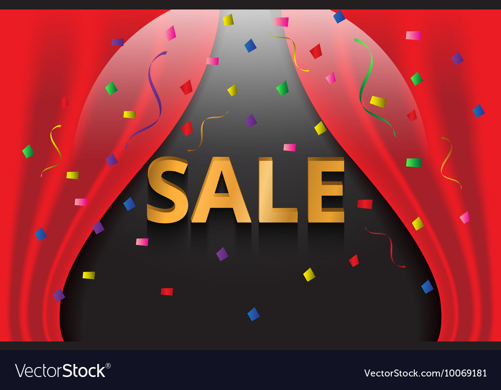 Confetti with gold sale banner vector
