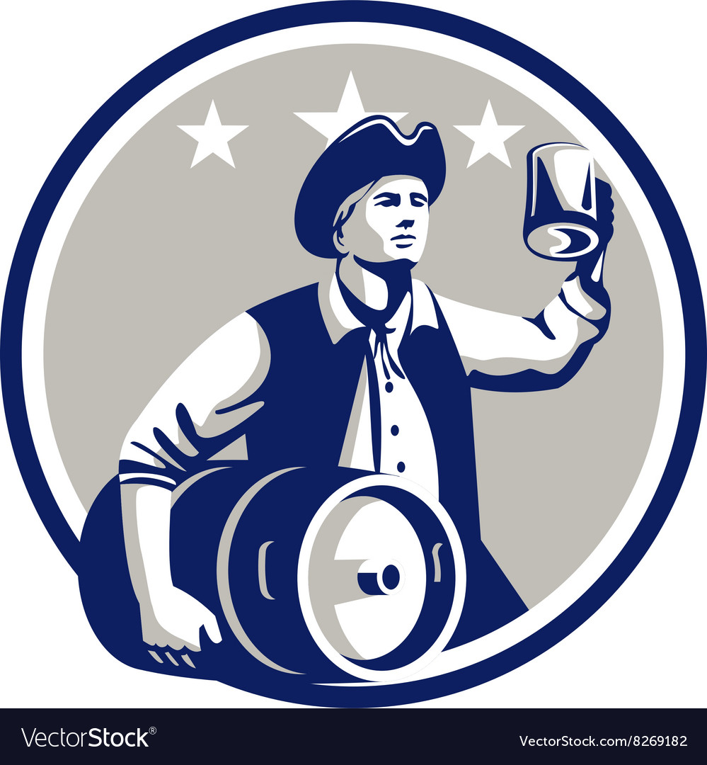 American patriot carry beer keg circle retro vector