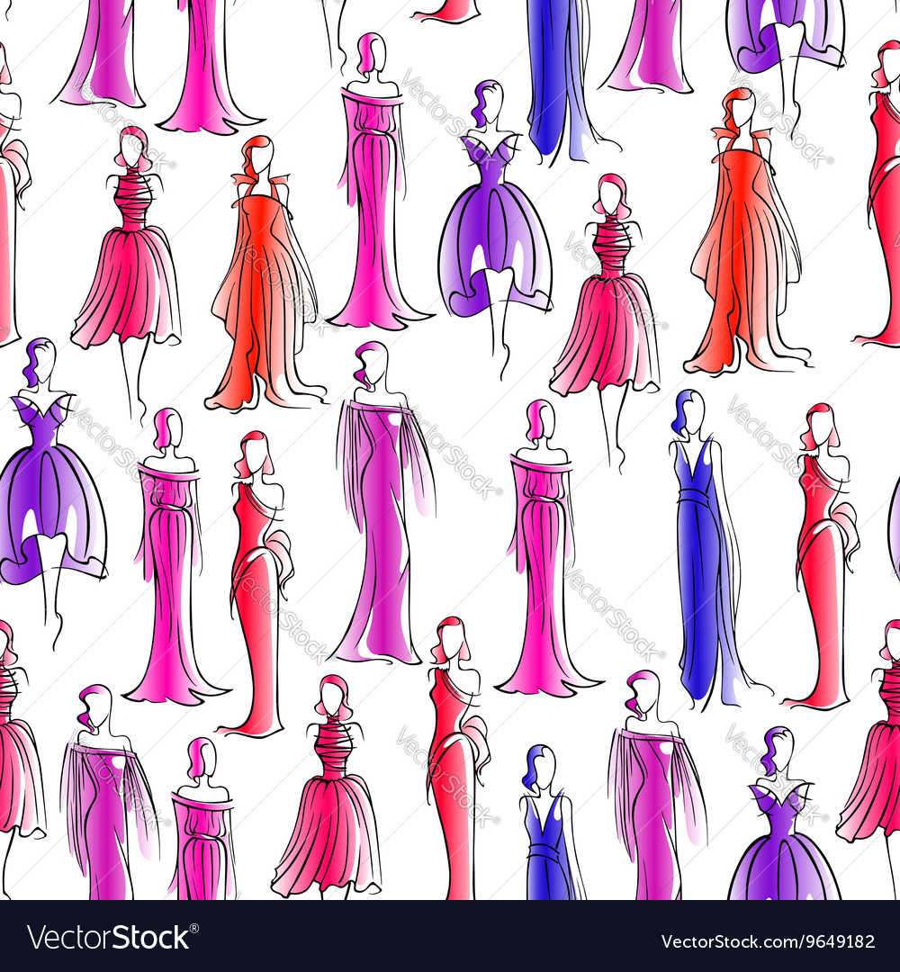 Seamless pattern with women in evening dresses vector