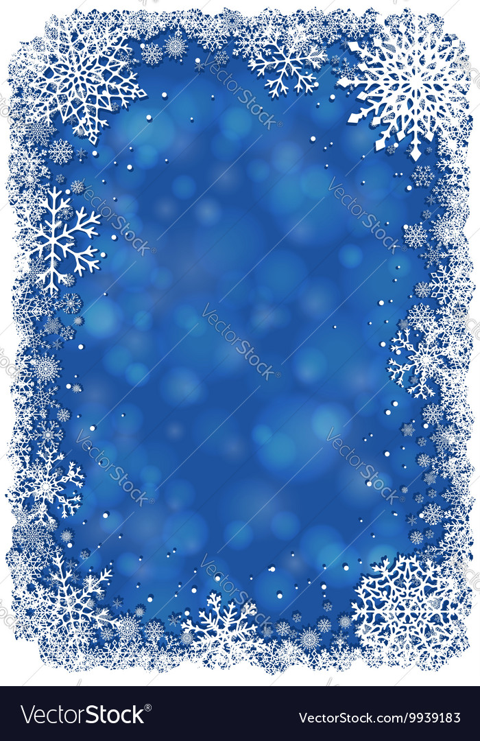 Christmas frame with snowflakes  blue vector