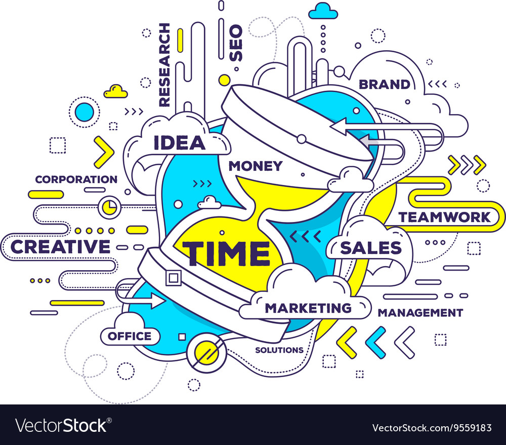 Creative of time management with sand glass vector