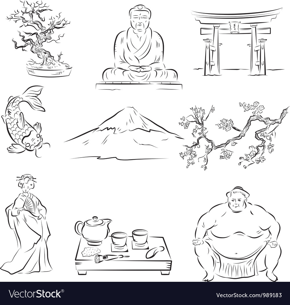 Symbols of japanese culture vector