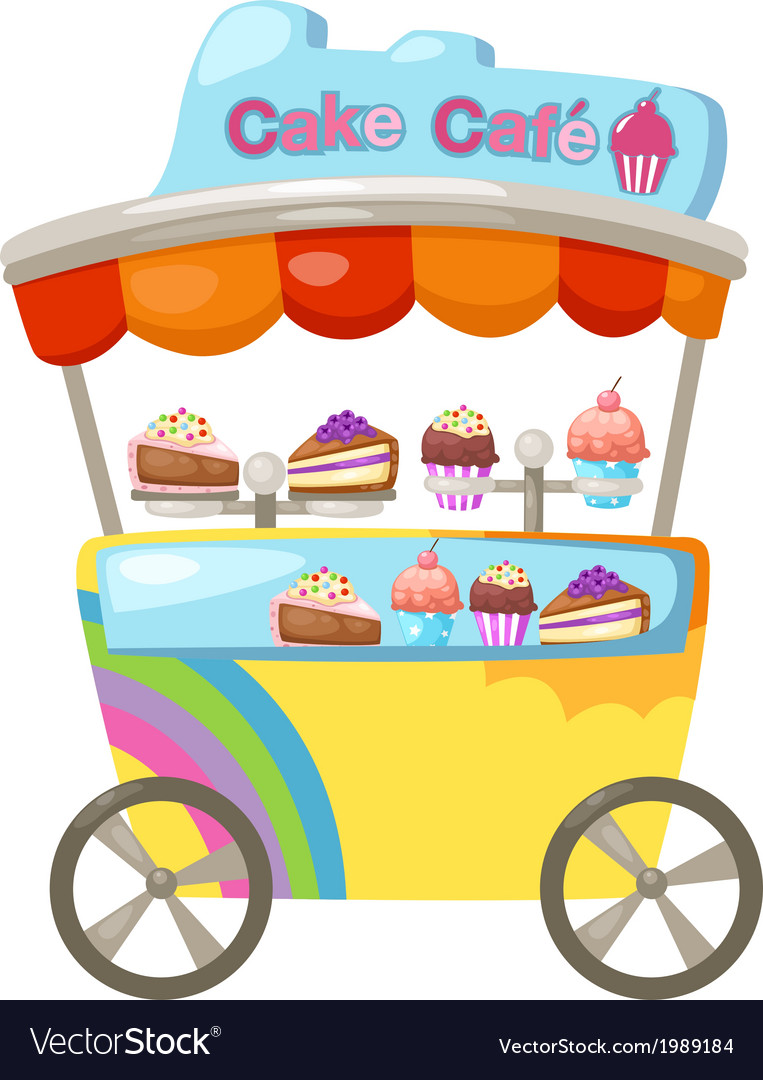 Cart stall and a cupcake vector