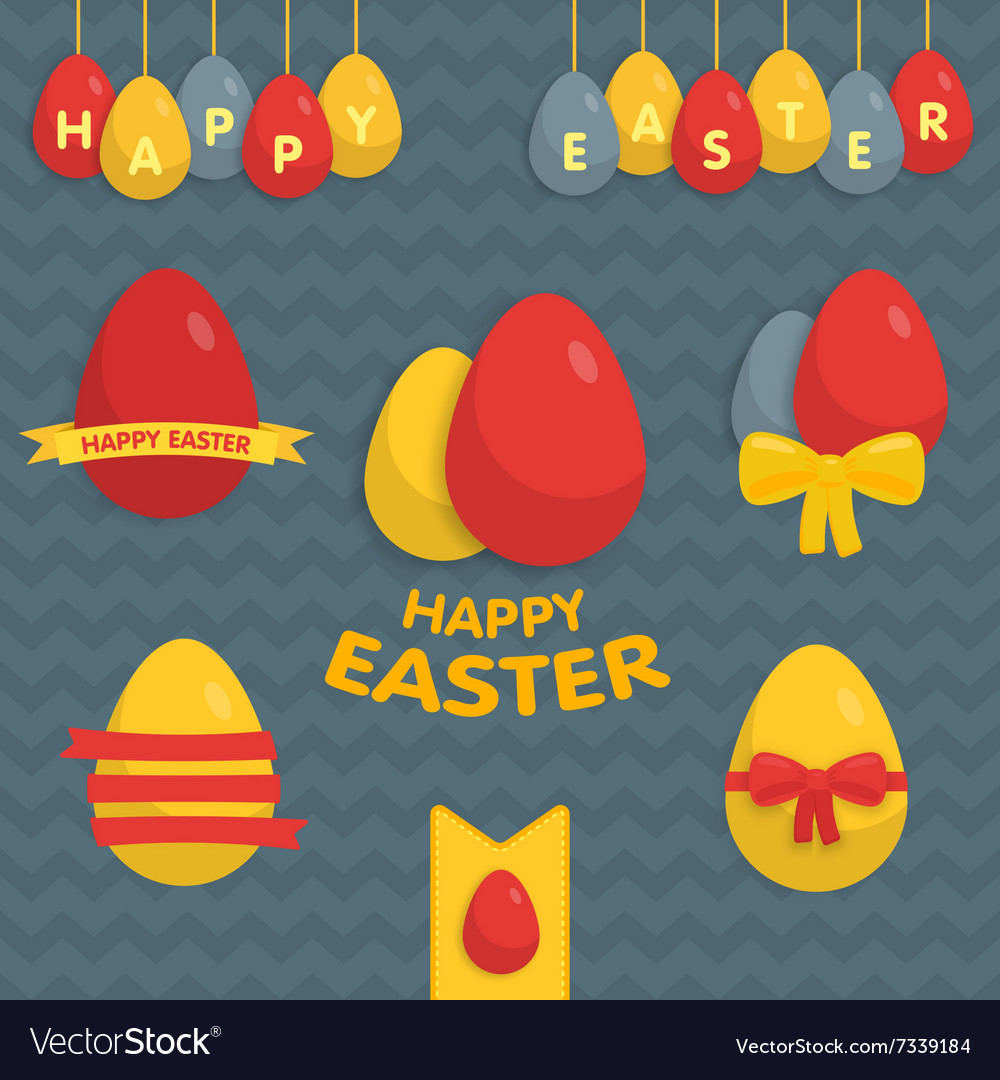 Cute easter set of labels ribbons and other vector
