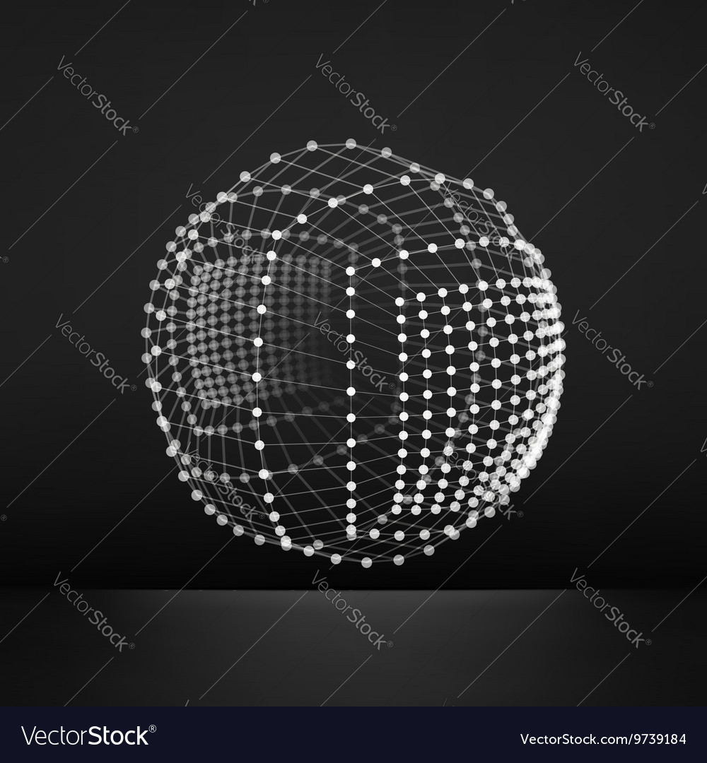 Sphere with connected lines and dots grid 3d vector